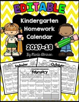 kindergarten homework calendar editable st days