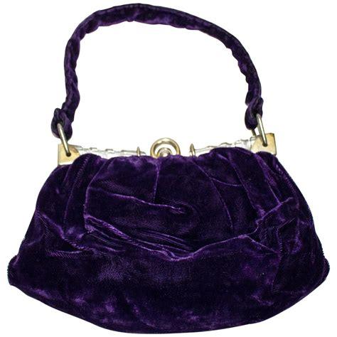 purple velvet evening purse  lucite frame  sale