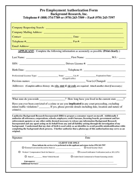 pre employment authorization form background checks save
