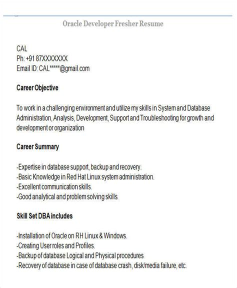 Resume For Oracle Developer Fresher by 43 Professional Fresher Resumes