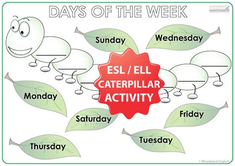 days of the week bundle of esl activities