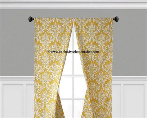 damask curtain panels yellow and white damask by