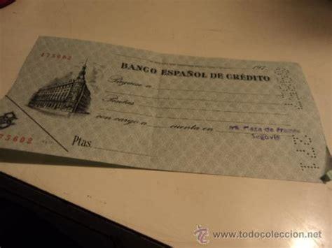 cheque sin rellenar del banco español de credi - Comprar ...