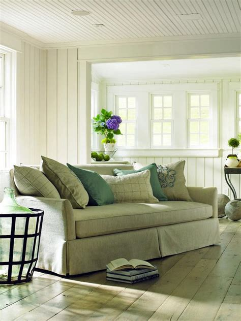 shabby chic green living room  wood floor  green