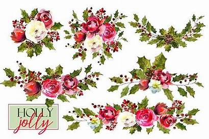 Christmas Clipart Holly Watercolor Steams Floral Thehungryjpeg