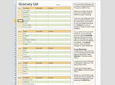 Grocery List Template Excel calendar monthly printable