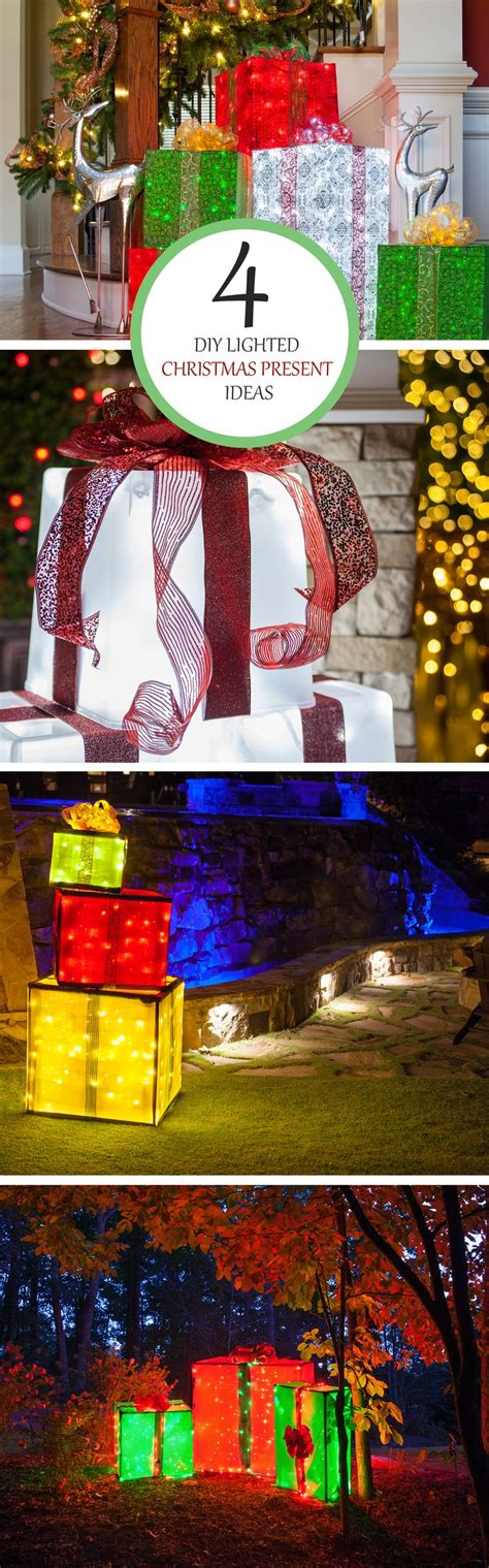 diy christmas decorations  lighted gift boxes outdoor