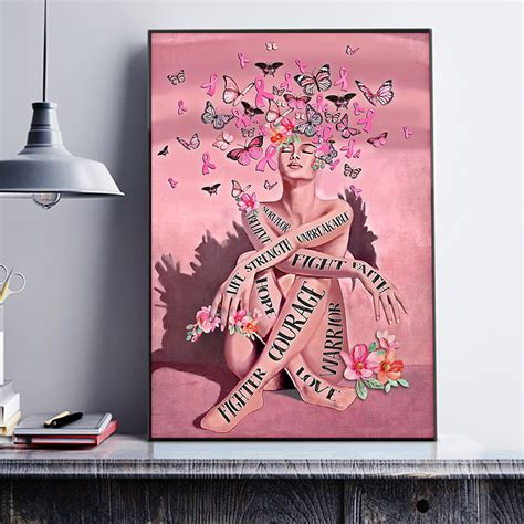 Breast cancer pink ribbon girl survivor poster