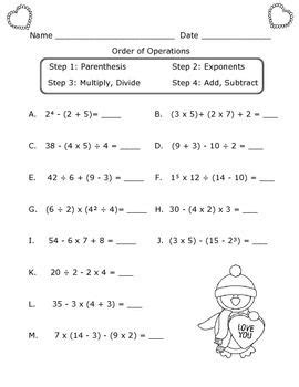 order of operations worksheet s day theme 5th grade math order of operations