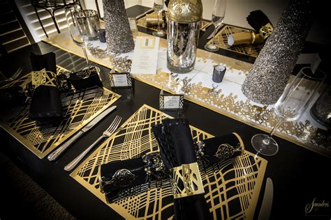 black table runner gold black table setting place matters