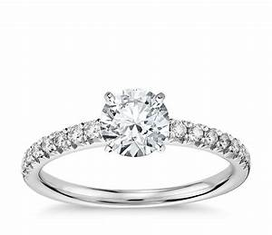 french pave diamond engagement ring in 14k white gold 1 4 With solitaire engagement ring with pave wedding band