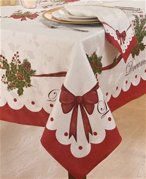 homewear table linens christmas peace and joy 60 quot x 120