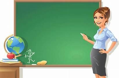 Teacher Clipart Blackboard Female Woman Arts Pointing