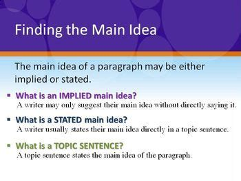 main idea topic stated implied powerpoint by kim barker tpt