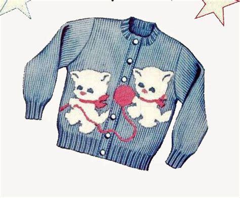 Girls Cardigan Sweater Knitting Patterns Kittens Knit O Graf 925 Photocopy