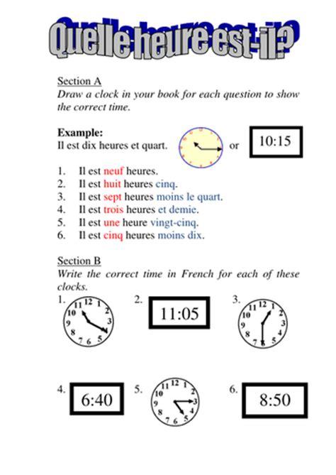 quelle heure est il no 2 du matin telling the time worksheet by rosaespanola teaching resources tes