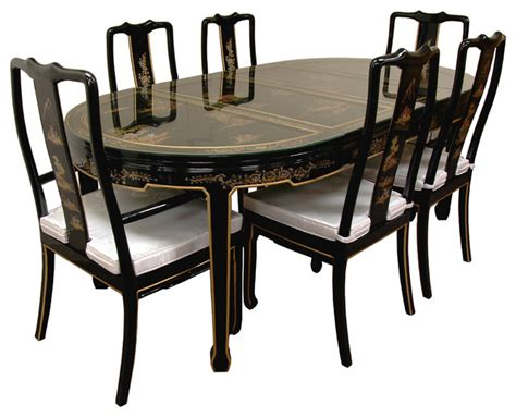 japanese dining table set hand painted on black lacquer 7 piece dining table asian dining sets by oriental furniture