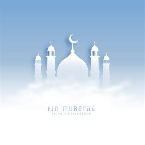 eid mubarak background  mosque  clouds