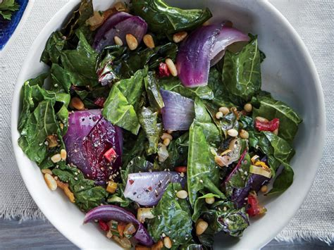 wilted chard  red onion  pine nuts recipe cooking