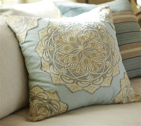 pottery barn large decorative pillows cressida medallion embroidered pillow cover pottery barn