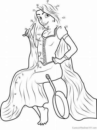 Rapunzel Dot Sitting Disney Dots Connect Tangled