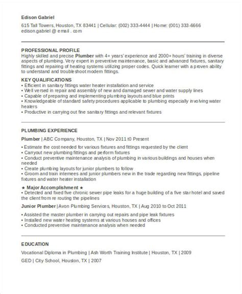 master plumber resume template 28 images 9 plumber