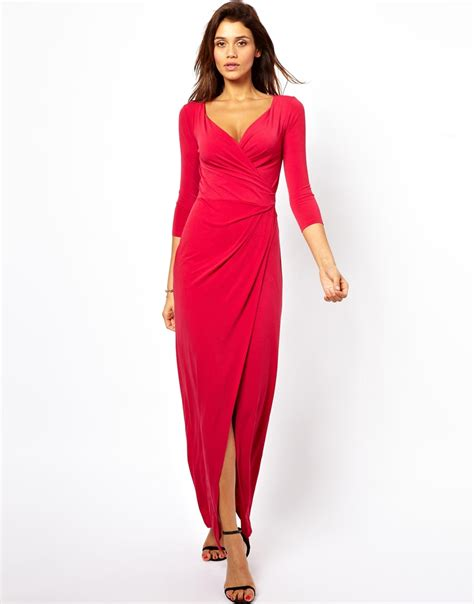 3 4 sleeve checked dress asos 3 4 sleeve wrap maxi dress in black lyst