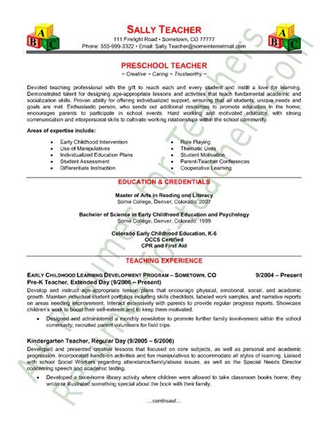 Resumes For Teachers by Preschool Resume Sle Resumes