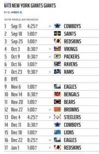 york giants  nfl schedule released