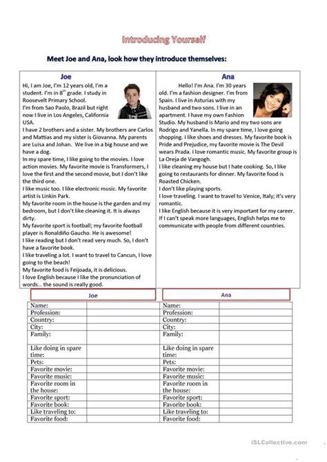 introducing  worksheet  esl printable