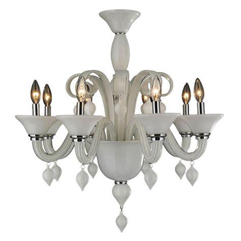 Murano Venetian Style All Chandelier by Worldwide Lighting Murano Venetian Style 8 Light White