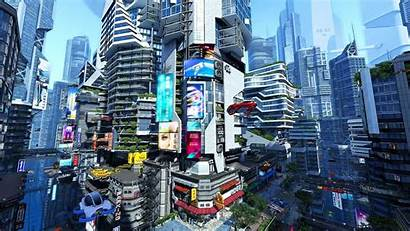Futuristic 3d Wallpapers Screensaver Backgrounds Cityscape Moving