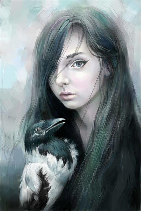 bilder aaskraehe gothic fantasy haar maedchens gezeichnet