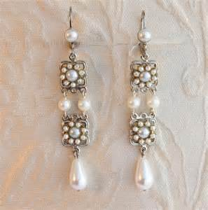 vintage wedding earrings bridal earrings vintage white pearls rhinestone wedding accessories mylittlebride on artfire