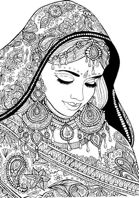 disegni colorati ragazze donna araba coi vestiti di festa disegni da colorare