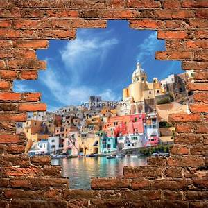 Mur Trompe L Oeil : sticker mural trompe l il mur de pierre village grec stickers muraux deco ~ Melissatoandfro.com Idées de Décoration