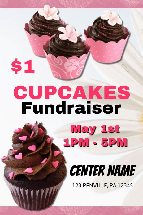 cupcake fundraiser flyer template postermywall