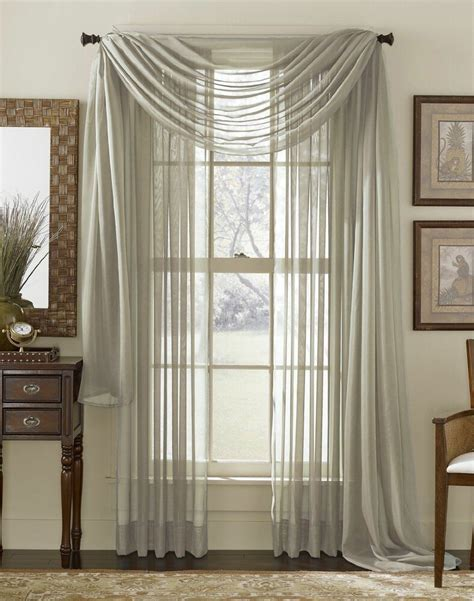 grey silver scarf sheer voile window curtain drapes