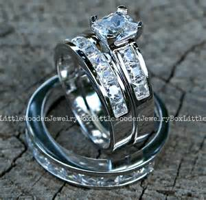 wedding ring sets his and hers his and hers 925 sterling silver 14k white gold engagement wedding ring band set ebay
