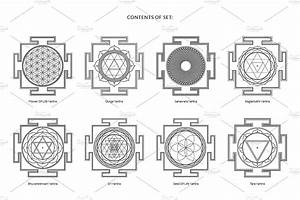 Hinduism Yantras Vector Set  Wikipedia Texts Include Set