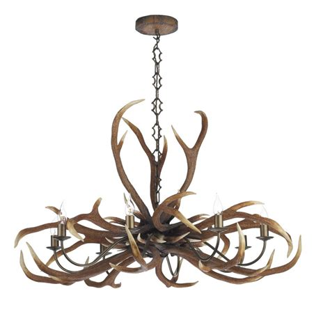 Large Rustic Ceiling Light Fitting Featuring Emperor Stag