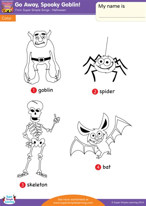 Coloring Song by Go Away Spooky Goblin Worksheet Vocabulary Coloring