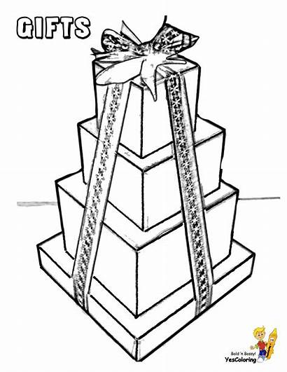 Coloring Christmas Gift Pages Wrapped Boxes Box