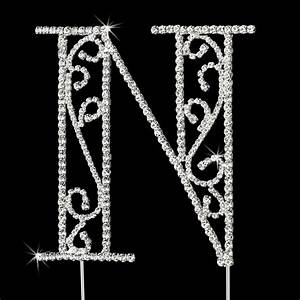 romanesque swarovski crystal wedding cake topper letter n With swarovski crystal letters