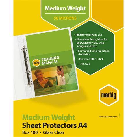 marbig deluxe silver sheet protector a4 medium