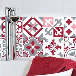 Carreaux De Ciment Rouge : sticker0007rougerose ~ Melissatoandfro.com Idées de Décoration