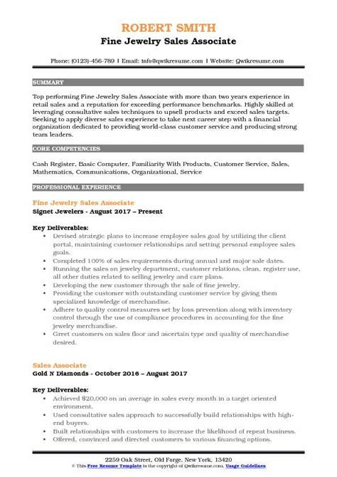 fine jewelry sales associate resume sles qwikresume