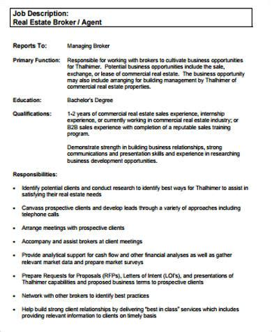 sample real estate resume  examples  word