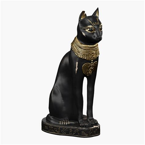 cat statue 3d model egyptian cat statue