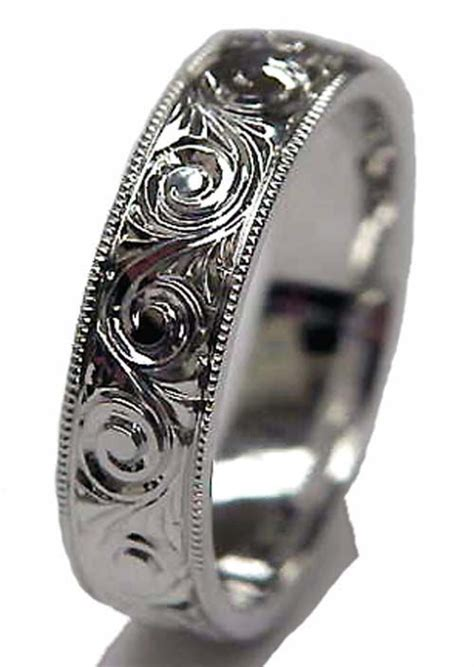 wedding band engraved patterns engraved ring in